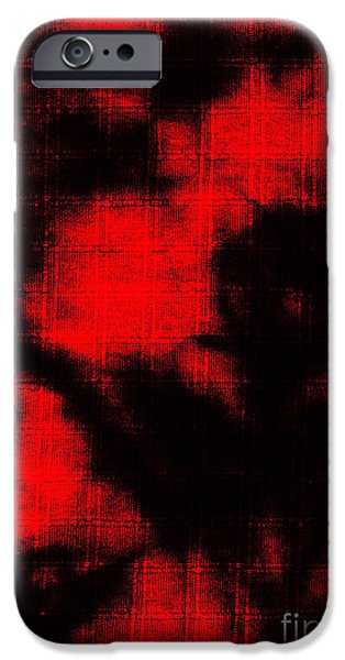 Red Abstract Tapestries - Textiles iPhone Cases - Abtract Batik Pattern iPhone Case by Kerstin Ivarsson