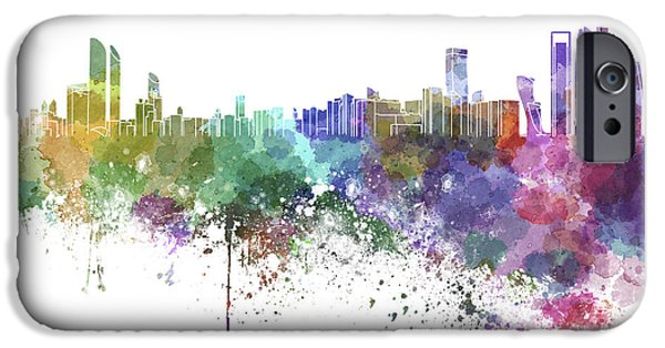 United iPhone Cases - Abu Dhabi skyline in watercolor on white background iPhone Case by Pablo Romero