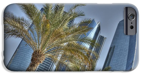 Middle Pyrography iPhone Cases - Abu Dhabi view iPhone Case by Luca Roveda