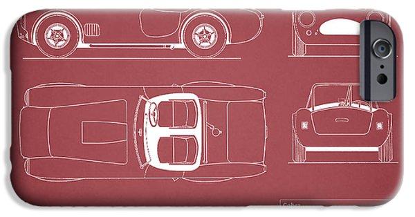 Cobra iPhone Cases - AC Cobra Blueprint - Red iPhone Case by Mark Rogan