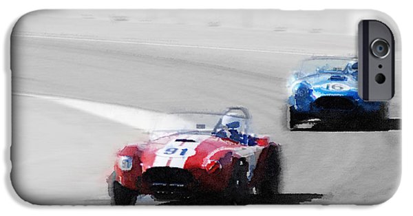 Old Cars iPhone Cases - AC Cobra Racing Monterey Watercolor iPhone Case by Naxart Studio