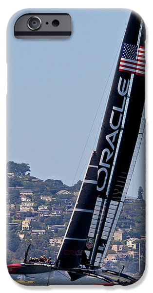 West iPhone Cases - 2013 Americas Cup Winner Oracle iPhone Case by Steven Lapkin