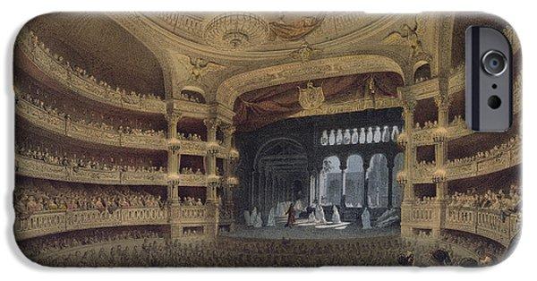 Chandelier iPhone Cases - Academie Imperiale de Musique Paris iPhone Case by Louis Jules Arnout