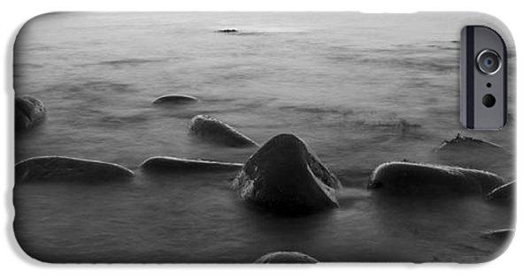 Alga iPhone Cases - Acadia National Park Shoreline Sunrise Wakeup Black and White iPhone Case by Glenn Gordon