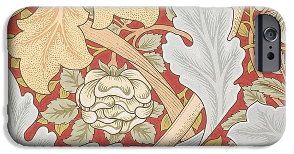 Design Drawings iPhone Cases - Acanthus Leaves Wild Rose on Crimson Background iPhone Case by William Morris