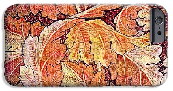 Wallpaper Tapestries - Textiles iPhone Cases - Acanthus Vine Design iPhone Case by William Morris