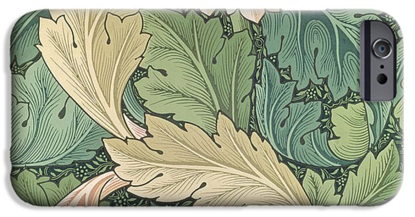 Design Tapestries - Textiles iPhone Cases - Acanthus wallpaper design iPhone Case by William Morris