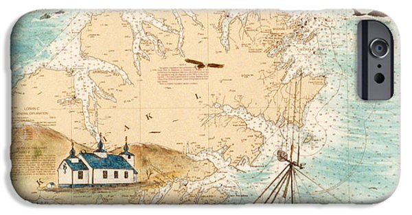 Accomplice iPhone Cases - ACCOMPLICE Kodiak Crab Fishing Boat Nautical Chart Map Art iPhone Case by Cathy Peek