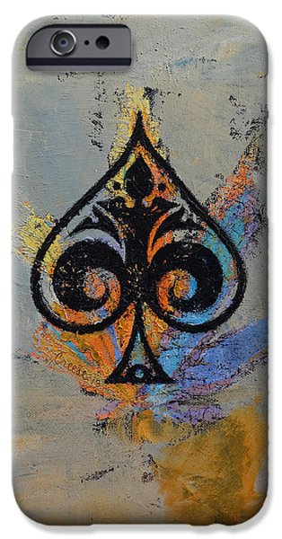 Playing Cards iPhone Cases - Ace iPhone Case by Michael Creese