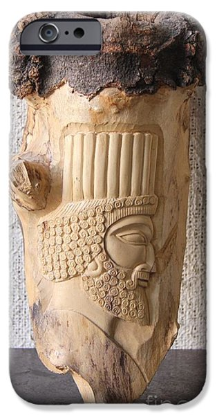Relief Sculpture Reliefs iPhone Cases - Achaemenian Soldier relief Sculpture Wood Work iPhone Case by Persian Art