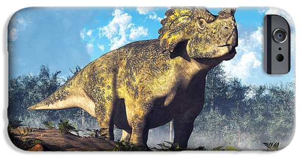 Triassic iPhone Cases - Achelousaurus iPhone Case by Daniel Eskridge