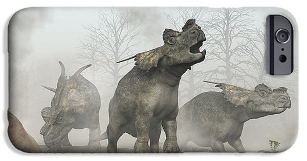 Triassic iPhone Cases - Achelousauruses iPhone Case by Daniel Eskridge