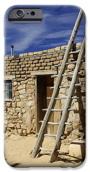 New Mexico Digital iPhone Cases - Acoma Pueblo Adobe Homes 4 iPhone Case by Mike McGlothlen