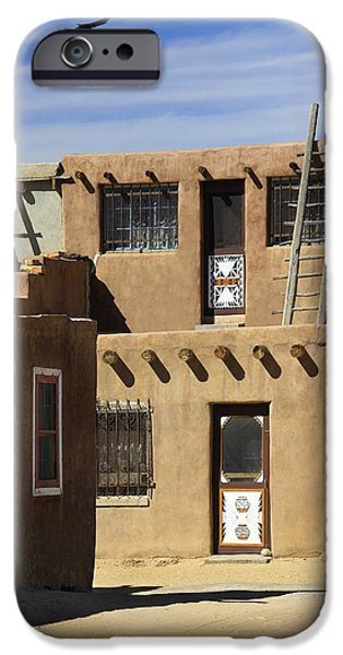 New Mexico Digital Art iPhone Cases - Acoma Pueblo Adobe Homes iPhone Case by Mike McGlothlen