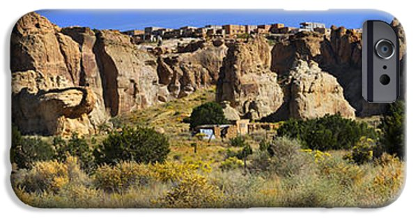 New Mexico Digital iPhone Cases - Acoma Pueblo Sky City Panoramic iPhone Case by Mike McGlothlen