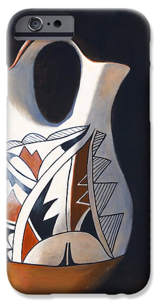 Pottery Paintings iPhone Cases - Acoma Wedding Vase iPhone Case by Jack Atkins