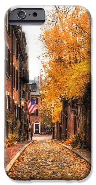 Massachusetts Autumn Scenes iPhone Cases - Acorn St. iPhone Case by Joann Vitali