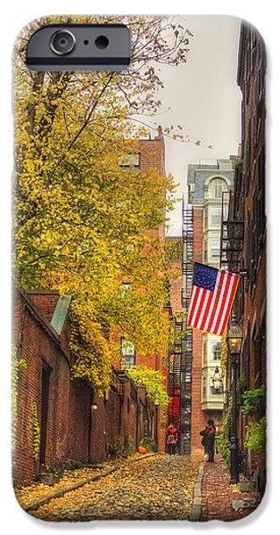 New England Autumn Scenes iPhone Cases - Acorn Street - Boston iPhone Case by Joann Vitali