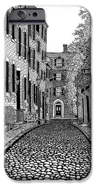 City. Boston Drawings iPhone Cases - Acorn Street Louisburg Square iPhone Case by Conor Plunkett