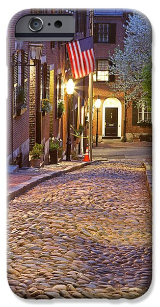 City. Boston iPhone Cases - Acorn Street of Beacon Hill iPhone Case by Juergen Roth
