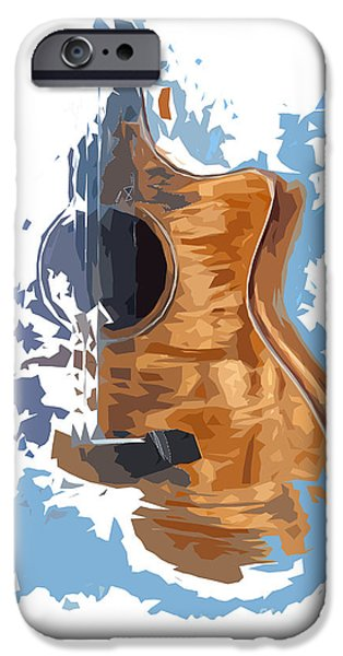 Beatles iPhone Cases - Acoustic Guitar Blue Background 4 iPhone Case by Pablo Franchi