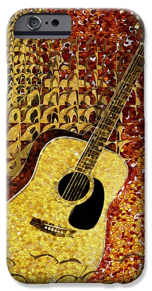 Sheets iPhone Cases - Acoustic Guitar iPhone Case by Jack Zulli