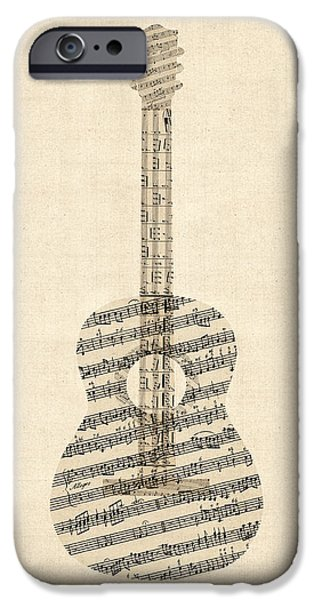 Musical iPhone Cases - Acoustic Guitar Old Sheet Music iPhone Case by Michael Tompsett
