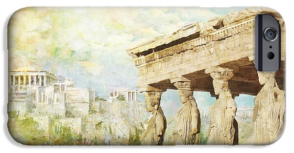 Byzantine iPhone Cases - Acropolis of Athens iPhone Case by Catf
