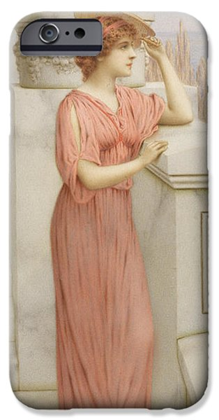 Portraits Female Paintings iPhone Cases - Across the Bay iPhone Case by William Anstey Dolland