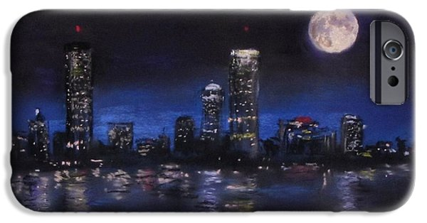 City Scape Pastels iPhone Cases - Across The Charles at Night iPhone Case by Jack Skinner
