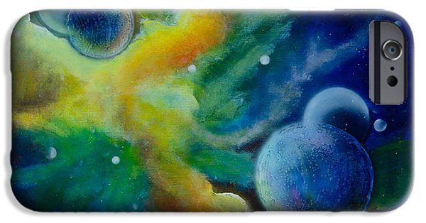 Deep Space Art Paintings iPhone Cases - Across the Universe iPhone Case by Debra Breton