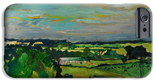 Rural iPhone Cases - Across The Valley, Bedfordshire, 1973 Oil On Canvas iPhone Case by Brenda Brin Booker