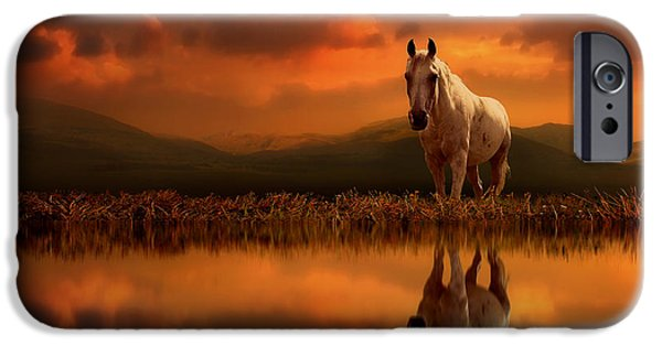 Horse Digital Art iPhone Cases - Across the Water iPhone Case by Jennifer Woodward