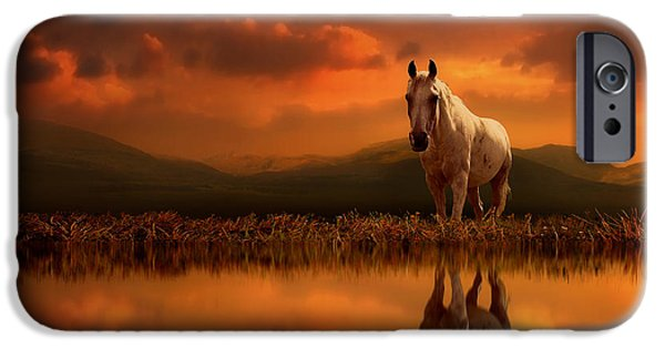 Horse Digital iPhone Cases - Across the Water iPhone Case by Jennifer Woodward
