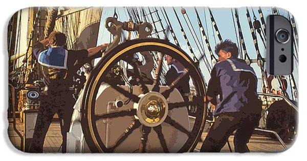 Tall Ship Mixed Media iPhone Cases - Action at the helm iPhone Case by Anthony Dalton