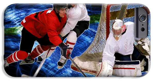 Hockey Paintings iPhone Cases - Action at the Hockey Net iPhone Case by Elaine Plesser