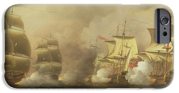 Pirate Ships Paintings iPhone Cases - Action Off the Cape of Good Hope iPhone Case by Samuel Scott