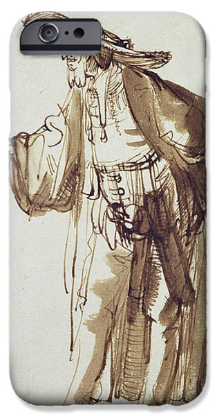 Acting iPhone Cases - Actor With A Broad-rimmed Hat Pen And Ink Wash On Paper iPhone Case by Rembrandt Harmensz. van Rijn