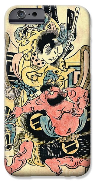 Padre Art iPhone Cases - Actors Danjuro and Hangoro 1736 iPhone Case by Padre Art