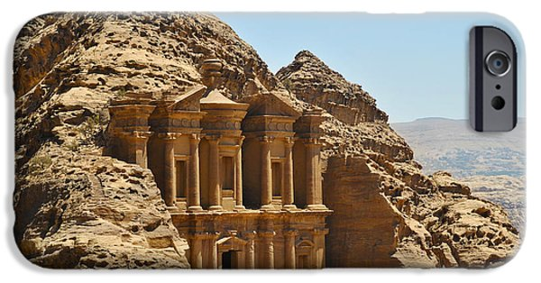 Jordan Pyrography iPhone Cases - Ad Deir in Petra iPhone Case by Jelena Jovanovic