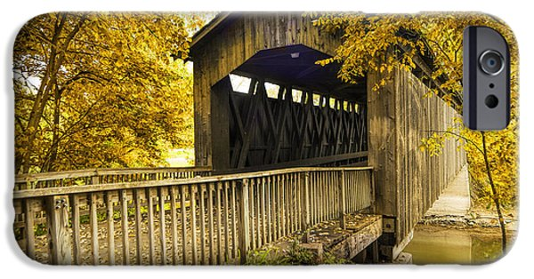 Covered Bridge iPhone Cases - Ada Covered Bridge in Autumn iPhone Case by Randall Nyhof