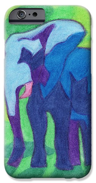 Elephants Pastels iPhone Cases - Ada-unt iPhone Case by Ashley King