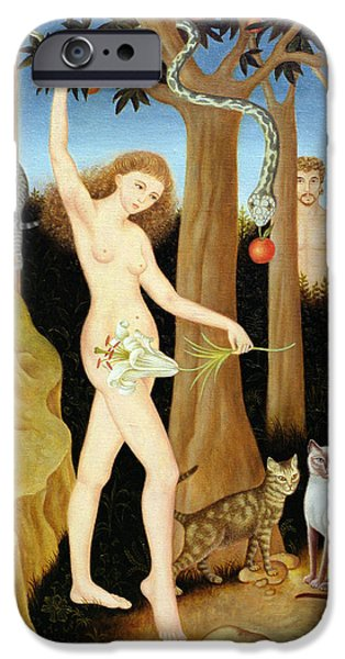Serpent iPhone Cases - Adam & Eve, 1990 iPhone Case by Patricia O