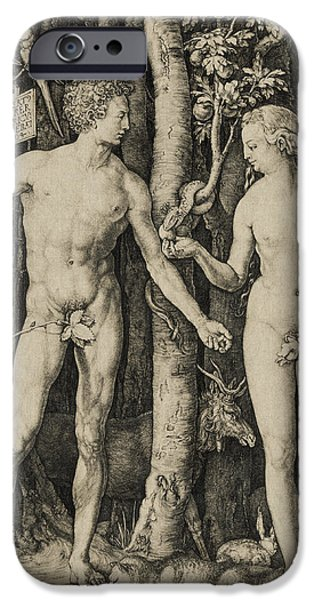 Adam iPhone Cases - Adam and Eve iPhone Case by Aged Pixel