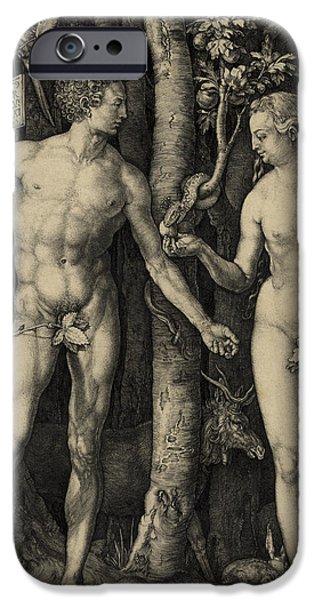 Best Sellers -  - Serpent iPhone Cases - ADAM and EVE in the GARDEN of EDEN - ALBRECHT DURER 1504 iPhone Case by Daniel Hagerman