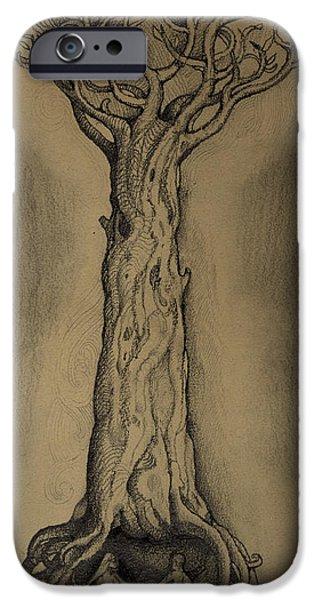 John Stewart iPhone Cases - Adam and Eve iPhone Case by John Norman Stewart