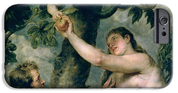 Serpent iPhone Cases - Adam and Eve iPhone Case by Rubens