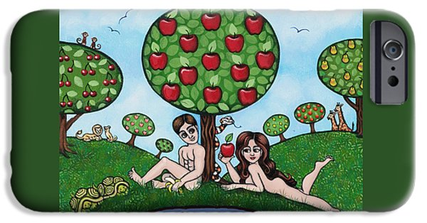Creationism iPhone Cases - Adam and Eve The Naked Truth iPhone Case by Victoria De Almeida