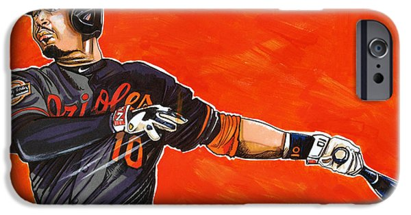 Baseball Drawings iPhone Cases - Adam Jones iPhone Case by Dave Olsen