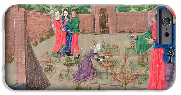 Agriculture iPhone Cases - Add 19720 Fol.214 Walled Garden With A Woman Gardening And Others Gossiping, From Livre Des iPhone Case by French School